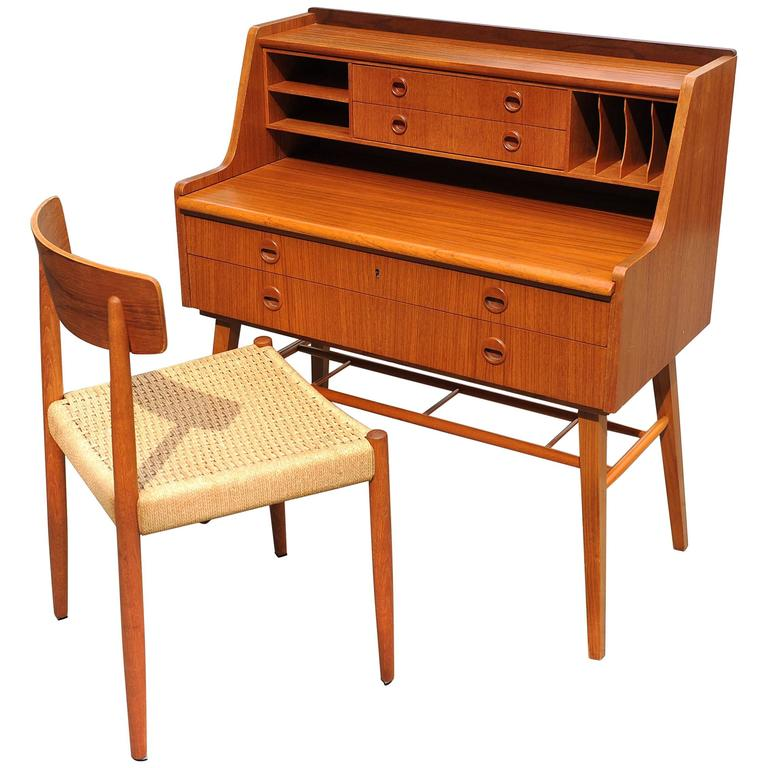 Swedish Teak Desk With Matching Chair For