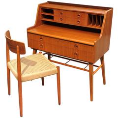 Swedish Teak Desk with Matching Chair