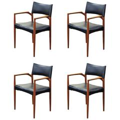 Ejnar Larsen and Aksel Bender Madsen Dining Chairs, Set of Four