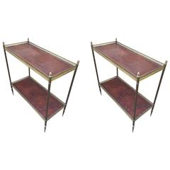 Maison Jansen 1940s Pair of Two-Tier Side Table with Leather Patinated Top