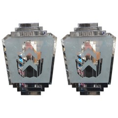 Pair of Silver Art Deco Sconces