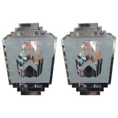 Pair of Silver Art Deco Sconces