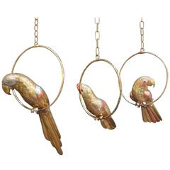 Set of Three Sergio Bustamante Parrot Sculptures