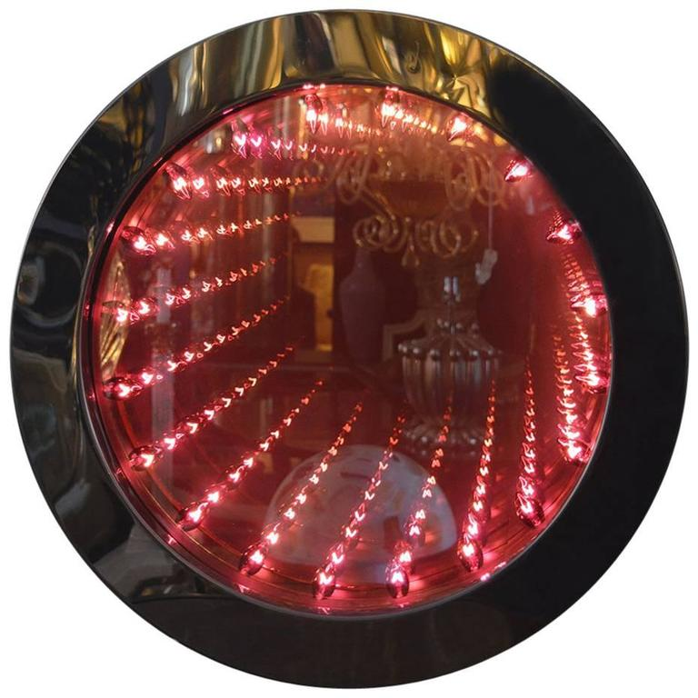 Infinity Mirror With Red Bulbs For