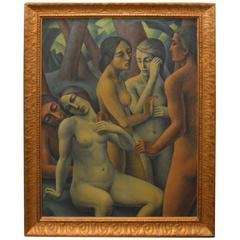 French Art Deco Oil on Canvas Nude Portrait of Women