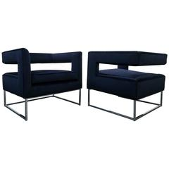 Pair of Mid-Century Chrome and Velvet Open Back Cube Chairs by Thayer Coggin