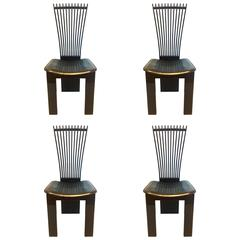 Four Italian Fan Back Chairs by Pietro Costantini in Lacquered Wood and Leather