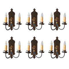 One of 2 1920s Double Sconce