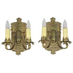 Pair of 1920s Double Sconces with Acanthus Motif