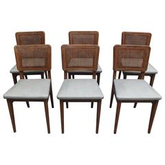 set of six french 1950s dining oak chairs by maison roset