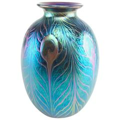 Charles Lotton Iridescent Blue Peacock Feather Studio Art Glass Vase