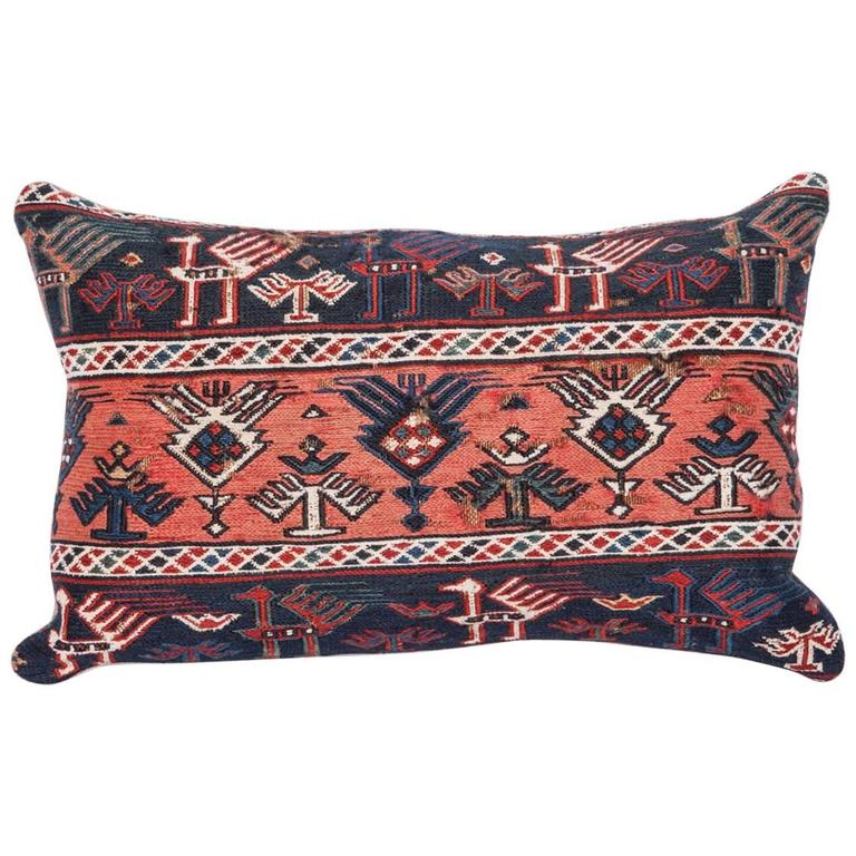 19th Century Pillow Made Out of an Antique Caucasian Sumak Panel