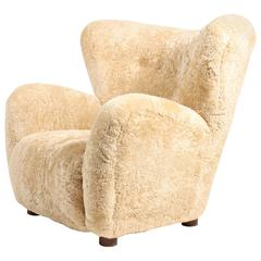 Shearling Upholstered Easy Chair, 1940s