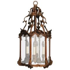 French Bronze Four-Light Large Antique Lantern