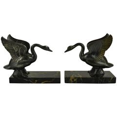 1930s Swan Bookends by Perrina Paris