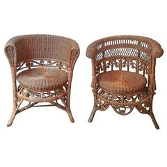 False Pair of Two Rattan Armchairs in the Style of Heywood Brothers & Wakefield