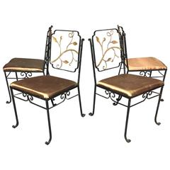 1920s Bronze and Iron Garden Chairs Attributed to Florentine Craft Studio