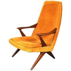 Danish 1960s Cross-Leg Teak and Orange Corduroy Lounge Chair