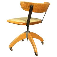 1930s Oak and Steel Adjustable Desk Chair