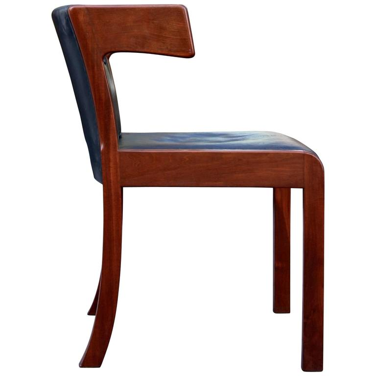 Ole Wanscher Mid-20th Century Winged Mahogany Side Chair