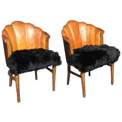 Pair of Art Deco Scallop Leather and Fur Seat Chairs, circa 1930