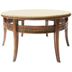 Swedish Round Coffee Table with Cane Top, 1940s