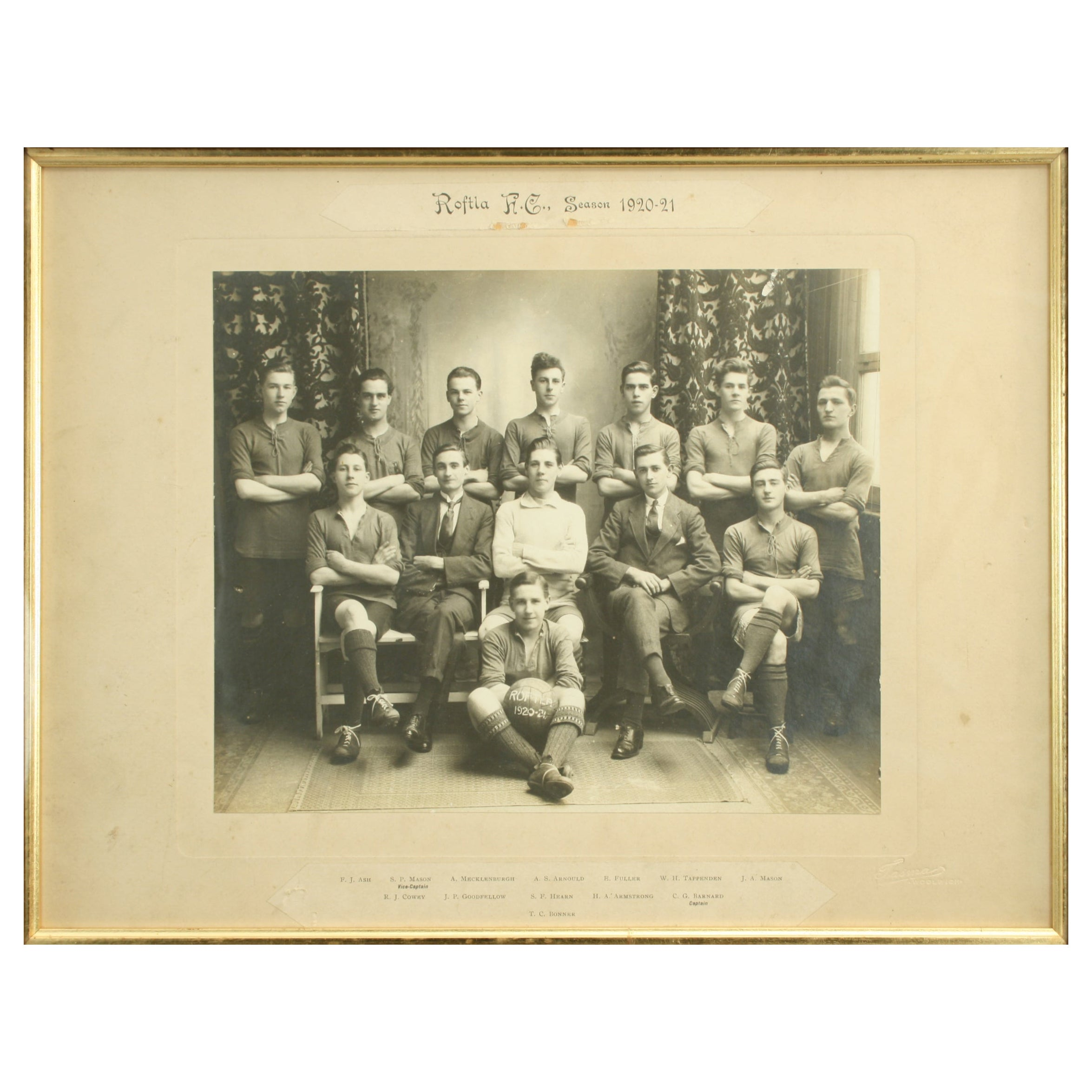 Vintage Football Team Photograph, Roftla F.C
