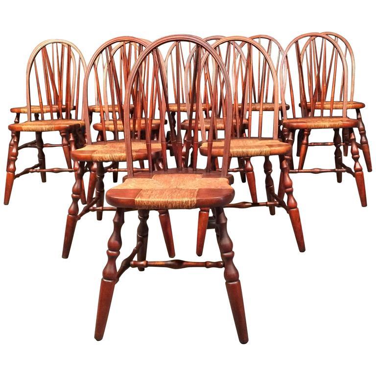 6 Nichols U0026 Stone Windsor Dining Chairs, USA, 1930s For Sale