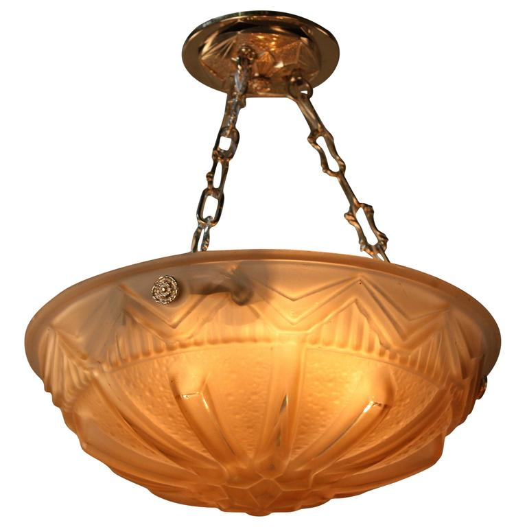 French Art Deco Pendent Chandelier For Sale At 1stdibs