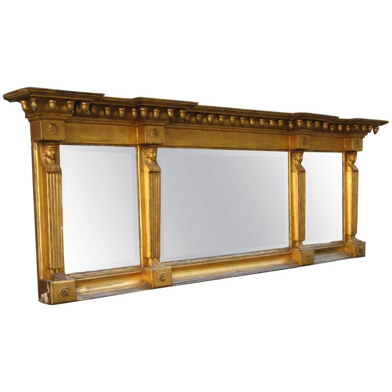Early 19th Century English Egyptian Revival Giltwood Overmantel Mirror For  Sale