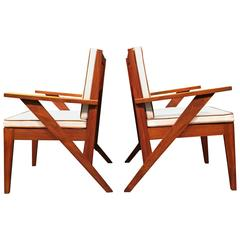 Pair of Great Armchairs, in the Style of Pierre Jeanneret, 1950s