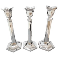 20th century Set of Three Italian Silver Exagonal  Candlesticks. Fully Handmade