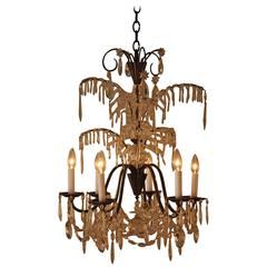French Palm Tree Design Crystal Chandelier