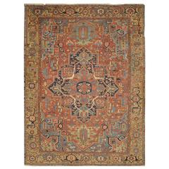 Large Antique Persian Heriz Rug