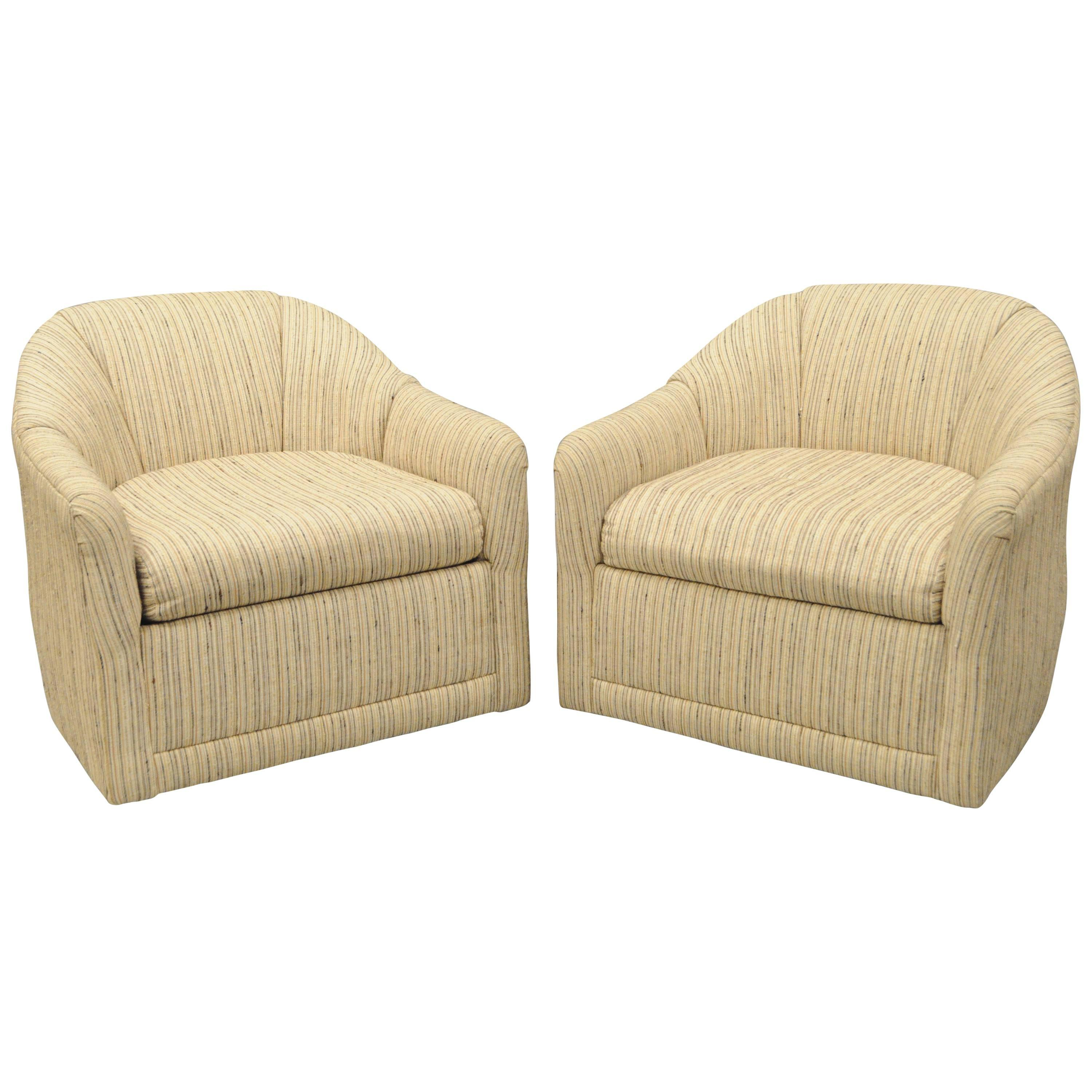 Pair Selig Mid Century Modern Upholstered Barrel Back Swivel Club Lounge Chairs