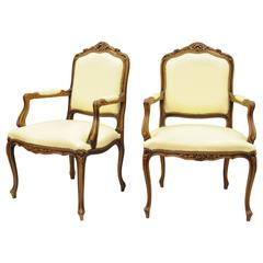 Pair of French Country Louis XV Style Living Room Italian Armchairs Chateau d'Ax