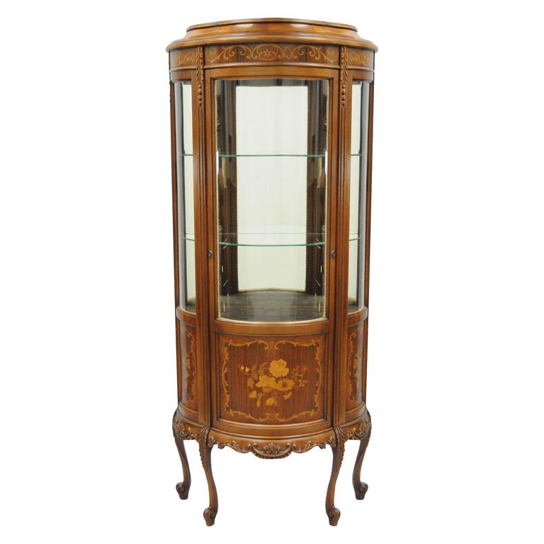 Small French Louis XV Style Curio Vitrine Display Case Curved Glass and Inlaid