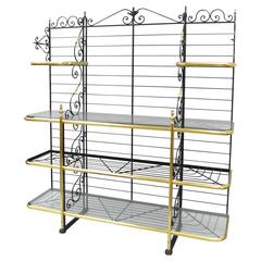 Large French Bakers Rack Wrought Iron and Brass Vintage by Perfit Fils Ltd Paris