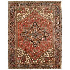 Antique Room Size Persian Heriz Rug
