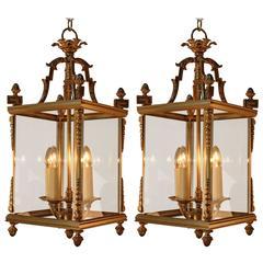 Pair of Italian Beveled Glass and Bronze Lanterns