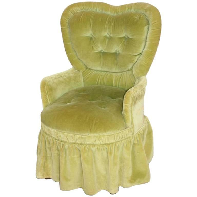 Green Velvet Vanity Chair at 1stdibs