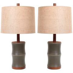 "Pair of Martz ""Bamboo"" Pottery Table Lamps"