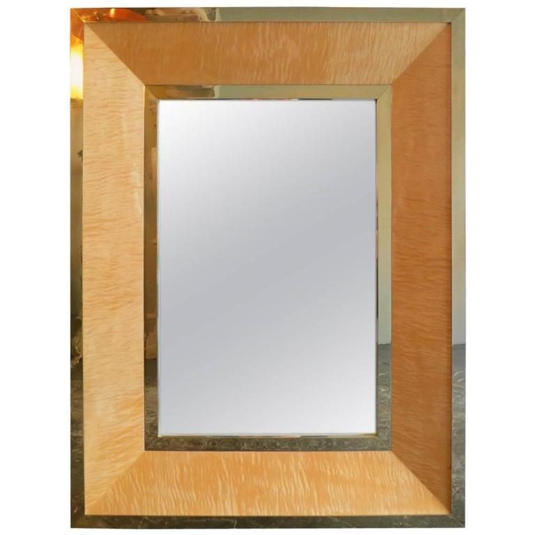 French Maple and Brass Framed Mirror