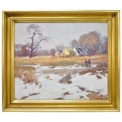 "Oil on Canvas by George Renouard ""Landscape with Hunters"""