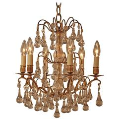 French 1930s Crystal and Bronze Chandelier