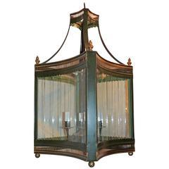 Handsome Vintage Four-Light Green Tole Gilt Lantern Panel Glass Large Fixture