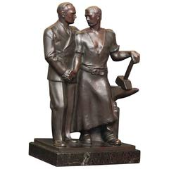 """Labor and Management,"" Art Deco Bronze Sculpture of Workplace Amity, 1930s"