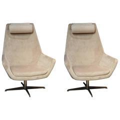Midcentury Vogue Lounge Chairs, Ecru and Velvet, Gray Taupe, No minimum.