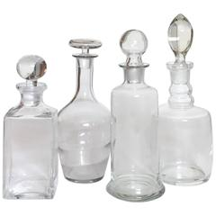 19th Century Blown Glass Decanter Collection, Set of Four
