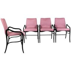 1960´s Set of Four Armchairs by Enrico Ciuti, rounded beech, pink linen - Italy